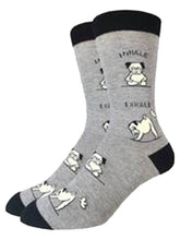 Load image into Gallery viewer, Yoga pugs on the gray funny socks