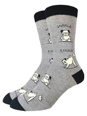 Yoga pugs on the gray funny socks