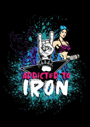 Addicted to Iron Horns Muscle T Black (back) - Iron Addiction
