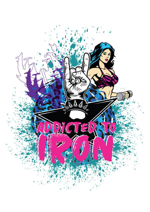 Addicted to Iron Horns Muscle T Stone Wash - Iron Addiction