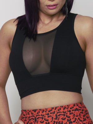 Black Mesh Crop - Iron Addiction