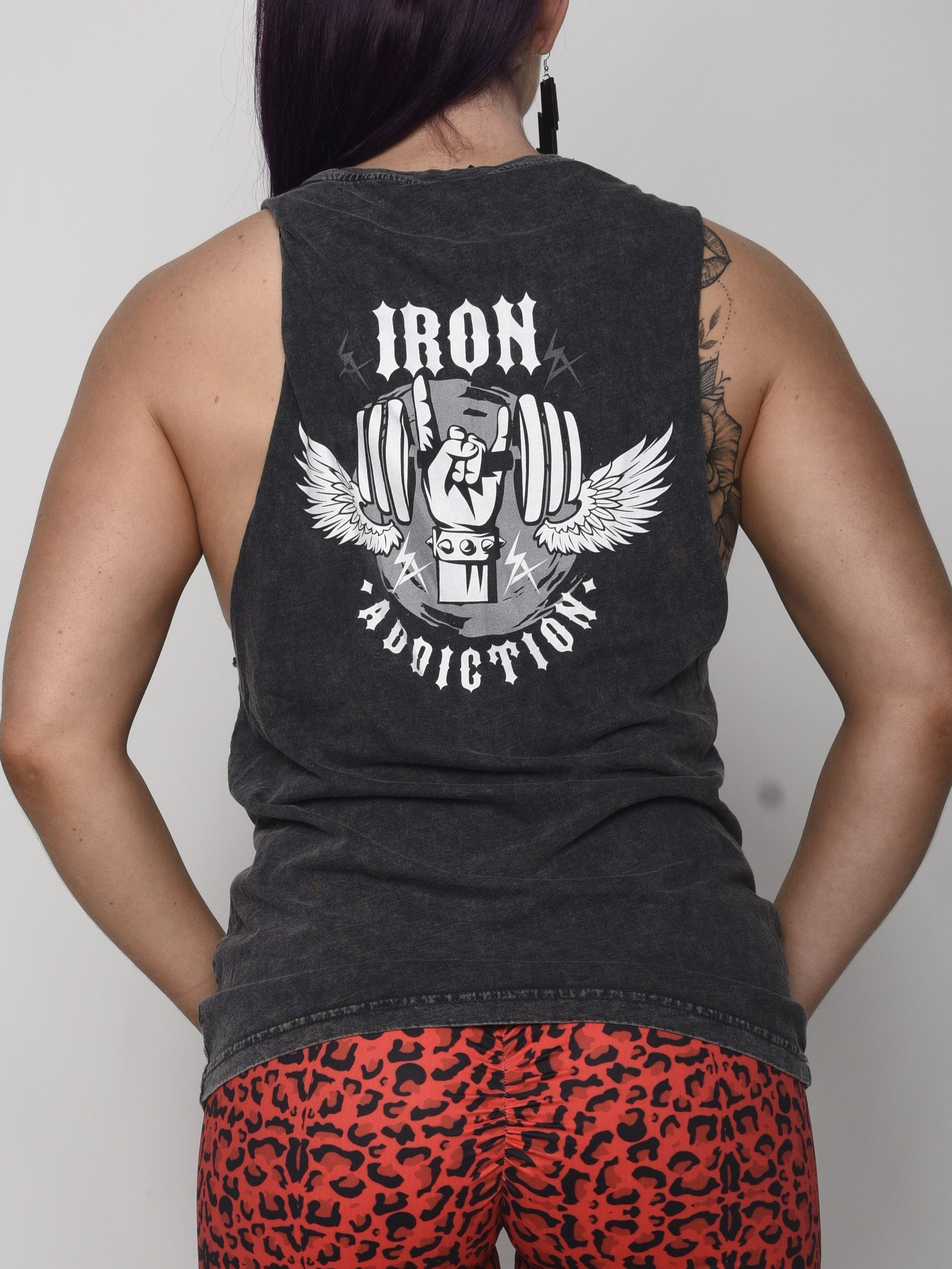 Grey Stone Wash Muscle Tee - Horns - Iron Addiction
