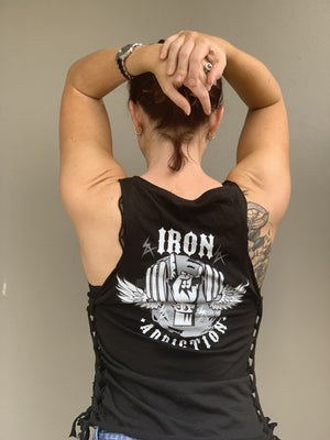 Iron addiction horns custom side tie up singlet - Iron Addiction
