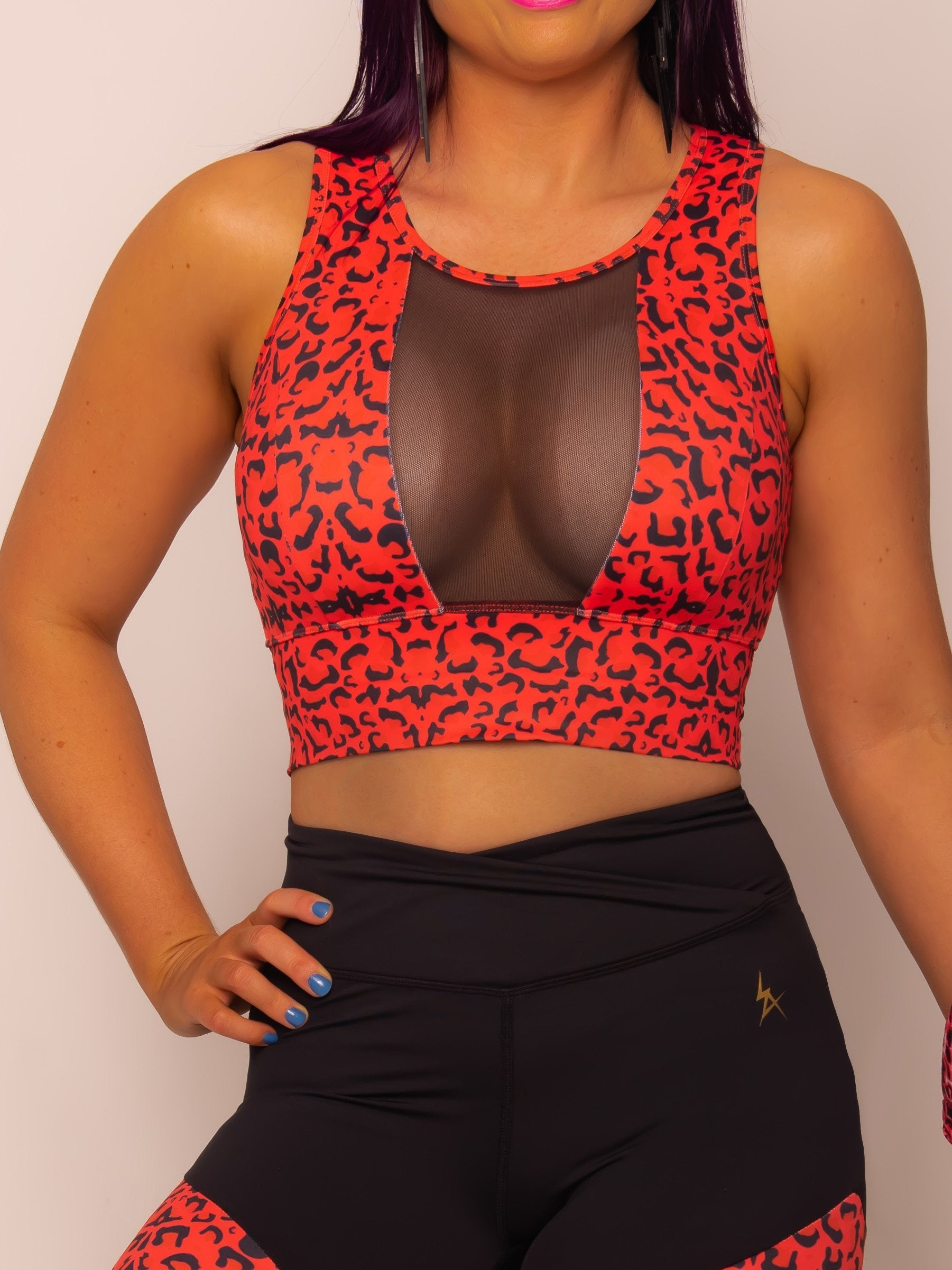 Red Leopard Mesh Crop - Iron Addiction