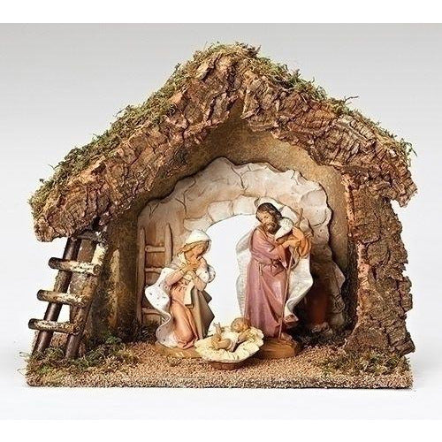 "3 Piece Figure Set with Grotto Italian Stable - Fontanini® 7.5"" Collection"