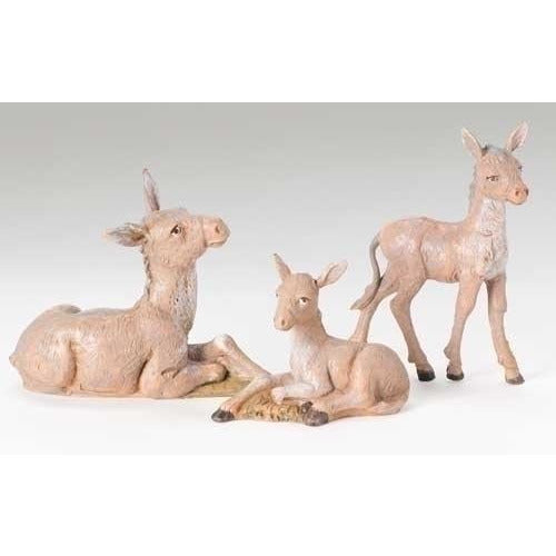 "Donkey Family, Set of 3 - Fontanini® 5"" Collection"