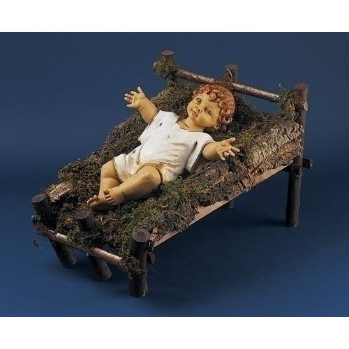 "Gowned Infant Jesus with Wood Manger - Fontanini® 50"" Collection"
