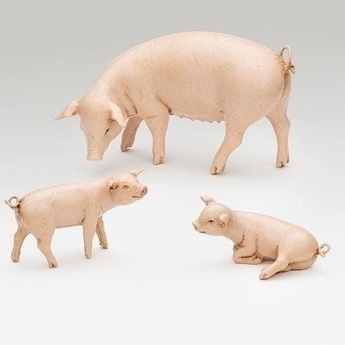 "Pig Family, Set of 3 - Fontanini® 7.5"" Collection"