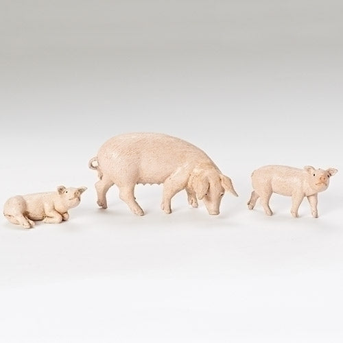 "Pig Family, Set of 3 - Fontanini® 5"" Collection"