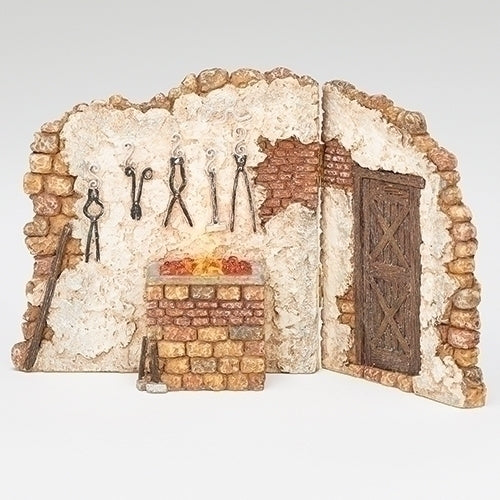 "Blacksmith Shop Lighted Wall for the Fontanini 5"" Scale"
