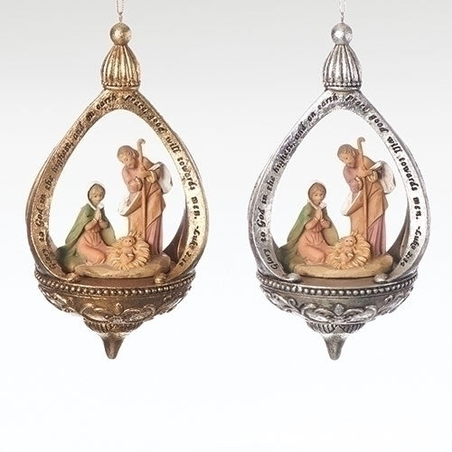 Set/2 Holy Family with Luke 2:14 Verse - Fontanini® Ornaments