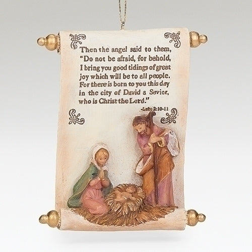 2020 Fontanini Event Ornament with Scroll and Holy Family