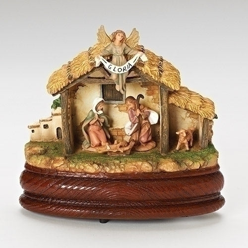 "Tabletop Nativity Scene on Wood Base - Fontanini® 5"" Collection"