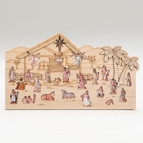 Wooden Bethlehem Scene Advent Calendar by Fontanini