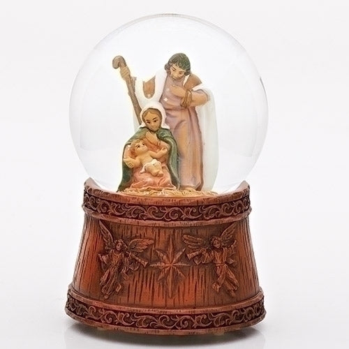 Holy Family Scene Angelic Wood Base Glitterdome® - Fontanini®
