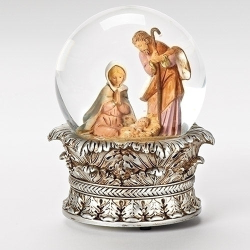 Ornate Silver Crown Holy Family Scene Glitterdome® - Fontanini®