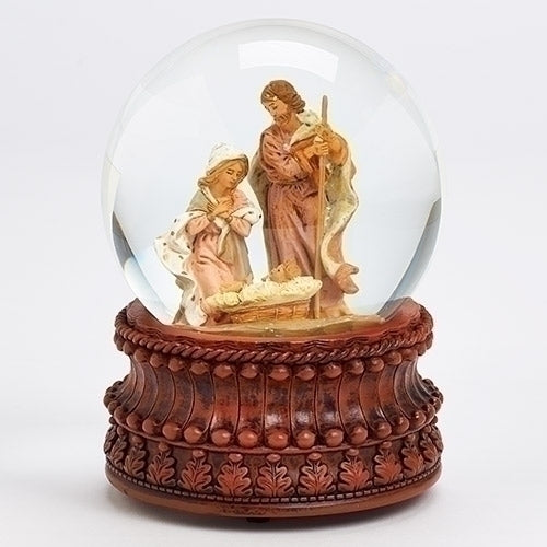 Carved Wood Base Glitterdome with Holy Family - Fontanini® Collection SALE