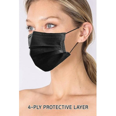 Black Surgical Style 4 Layer Protective Masks (Pack of 20) - SALE