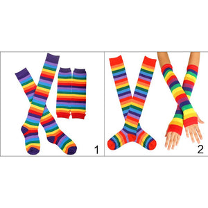 c5d9544036629 APEXLGBT Unisex Knitted Fingerless Gloves Socks Set Rainbow Stripes Printed Colorful  Thigh High Stockings Elbow Warmer
