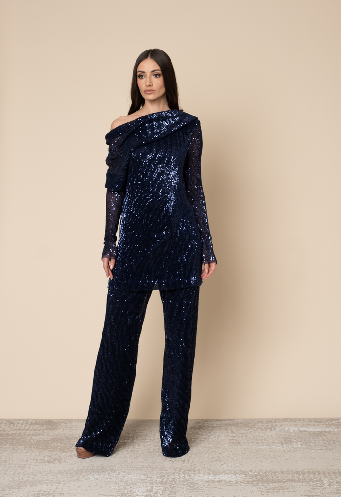 Fully sequined top and pants set