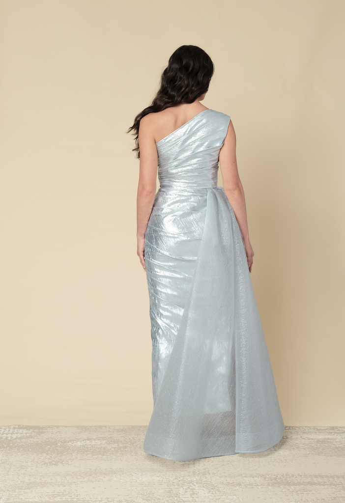 Silver metallic one shoulder gown