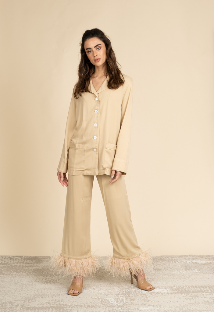 Party pajama set in beige
