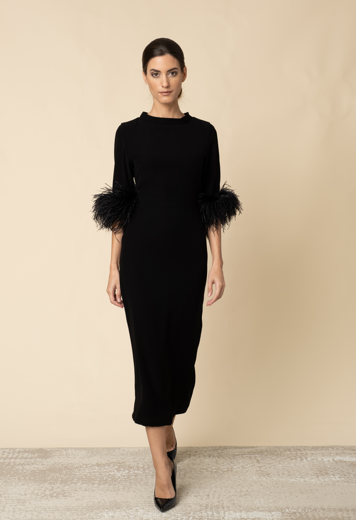 Black midi dress with feathers