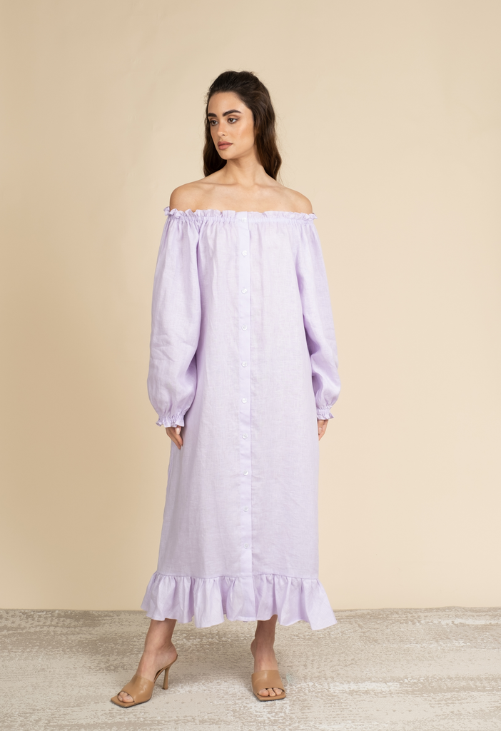 Loungewear dress in lavendar