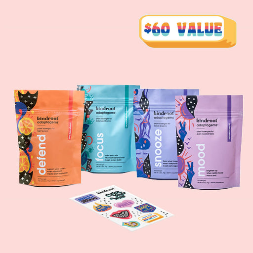 Functional lozenges bundle of four with melatonin, ashwagandha, vitamin c, Reishi mushroom and sticker set at $60 value