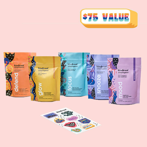 lozenges bundle for immunity, glow, sleep, focus, mood and sticker set