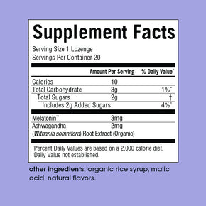 Snooze Supplement Facts Panel