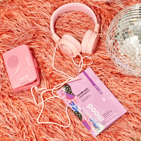 Mood bag next to cassette player and disco ball