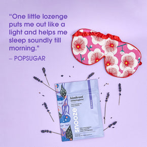 "Popsugar magazine quote ""One little lozenge puts me out like a light and helps me sleep soundly till morning"""
