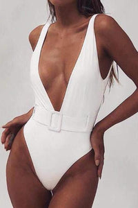 Explosive Section Deep V Buckle Belt One-Piece Swimsuit