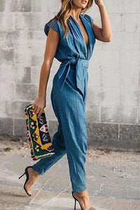 V-Neck Belt Casual Sexy Jumpsuit