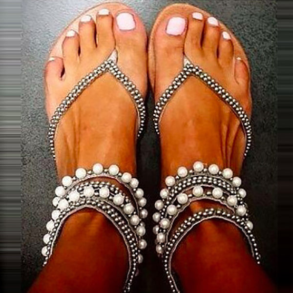 Fashion Beaded Clip Toe Sandals