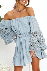 2019 Summer Sexy Word Shoulder Lace Stitching Trumpet Sleeves Off-Shoulder Dress
