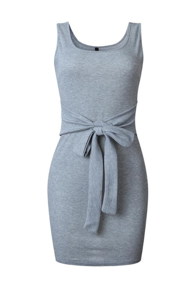 Round Neck  Bow  Plain Bodycon Dresses