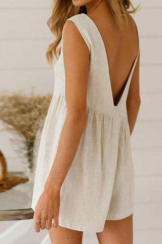 Solid Color Backless Sleeveless Casual Rompers