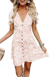 V Neck  Single Breasted  Printed  Short Sleeve Skater Dresses
