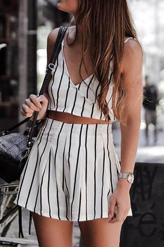 Striped Sling Top And Wide Leg Shorts Set