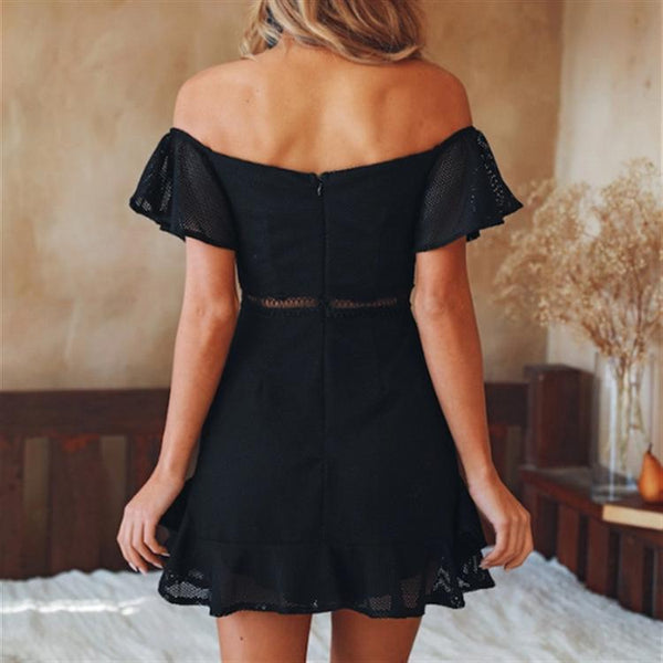 Open Back Short Sleeve Solid Color Mini Dress