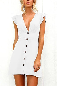 Sexy V-Neck Button Design Waist Dress