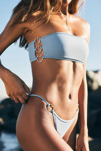 2019 New Tube Top Bikini Solid Color With Heart Ring Swimsuit