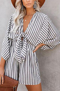 JOJORUBY Casual Striped Print Wide Cuff V-Neck Strap Loose Rompers