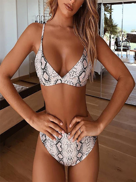 Sexy Snake Leopard Print Cotton High Waist Swimsuit