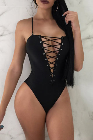 Deep V-Neck Lace-Up Plain One Piece