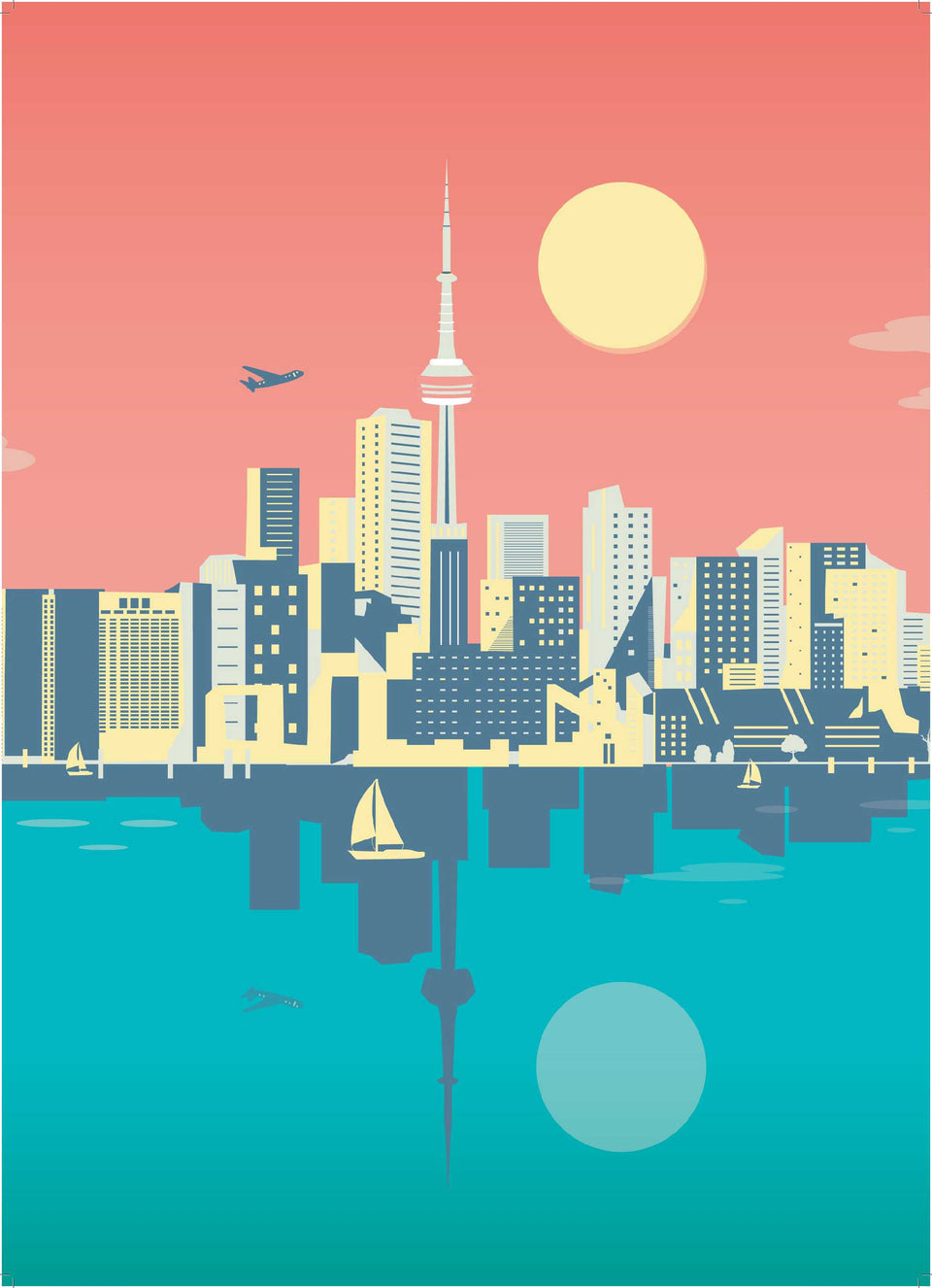 Toronto Skyline Illustration by Cindy Rose Studio