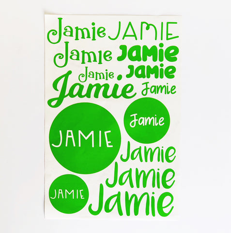 Vinyl Name Labels Value Sheets - design three