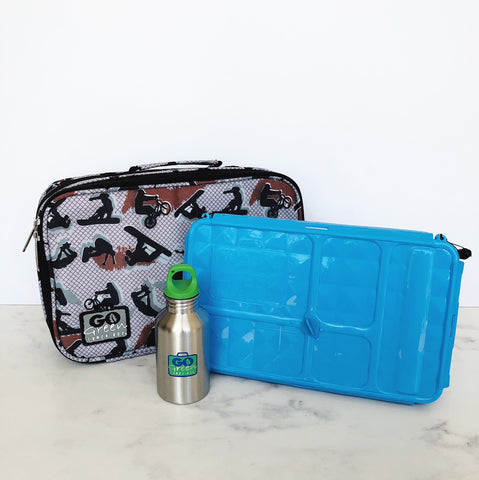 go green large set blue lunchbox extreme sports